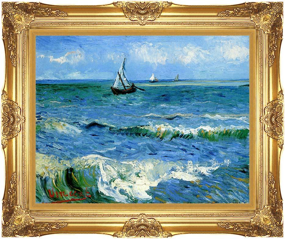 Vincent van Gogh The Sea at Les Saintes Maries de la Mer with Majestic Gold Frame