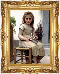 William Bouguereau Just A Taste canvas with Majestic Gold frame