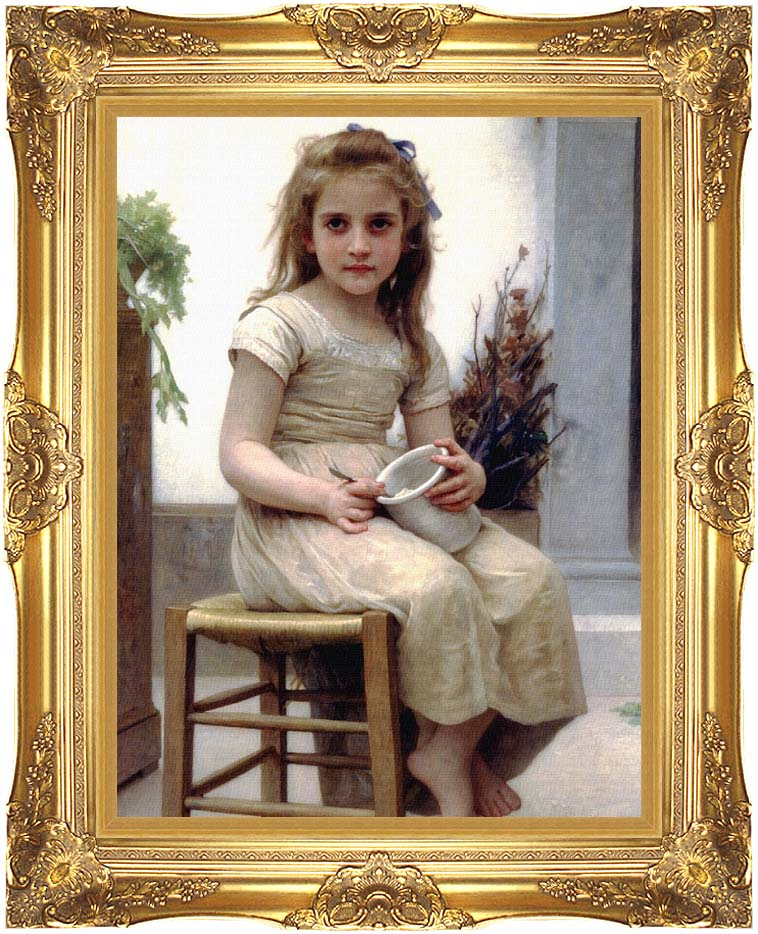 William Bouguereau Just a Taste with Majestic Gold Frame