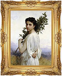 William Bouguereau Laurel Branch canvas with Majestic Gold frame