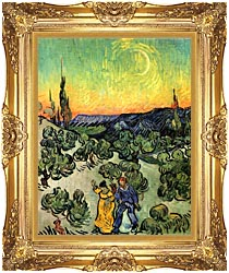 Vincent Van Gogh Landscape With Couple Walking And Crescent Moon canvas with Majestic Gold frame