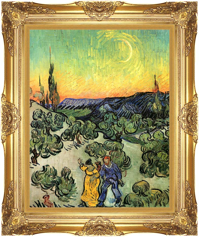 Vincent van Gogh Landscape with Couple Walking and Crescent Moon with Majestic Gold Frame