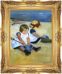 Mary Cassatt Children Playing On The Beach Detail canvas with Majestic Gold frame