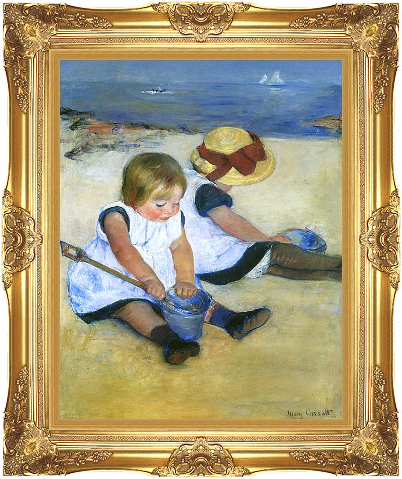 Mary Cassatt Children Playing on the Beach (detail) with Majestic Gold Frame