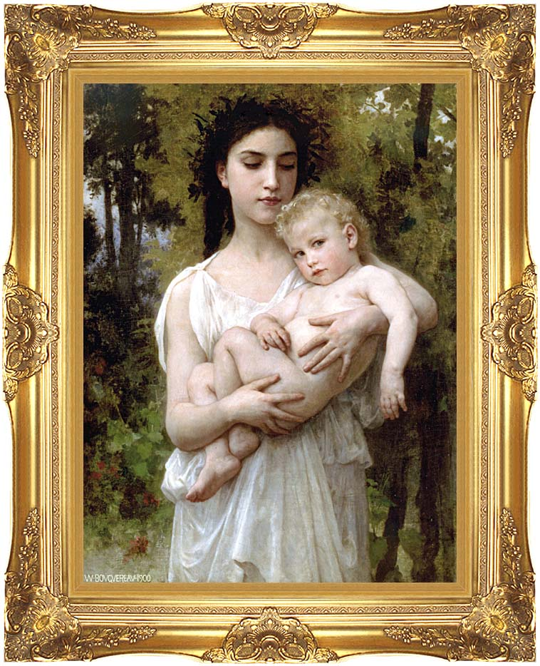 William Bouguereau Little Brother with Majestic Gold Frame