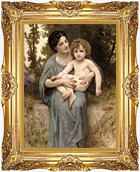 William Bouguereau Young Woman And Little Brother canvas with Majestic Gold frame