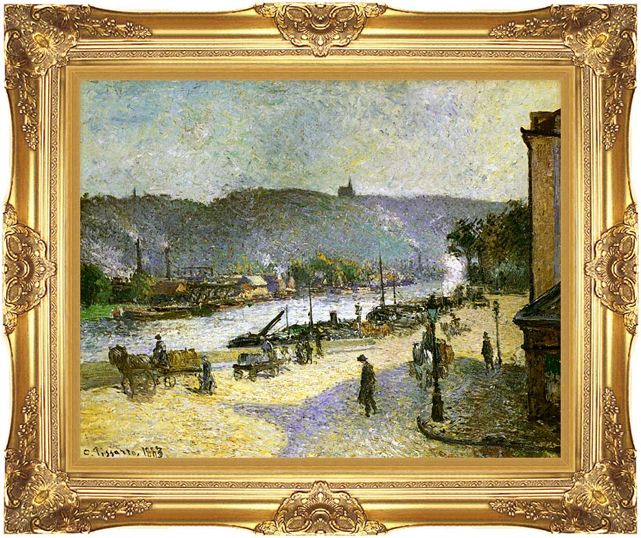 Camille Pissarro The Quays at Rouen with Majestic Gold Frame
