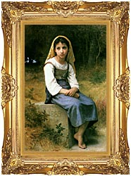 William Bouguereau Meditation canvas with Majestic Gold frame