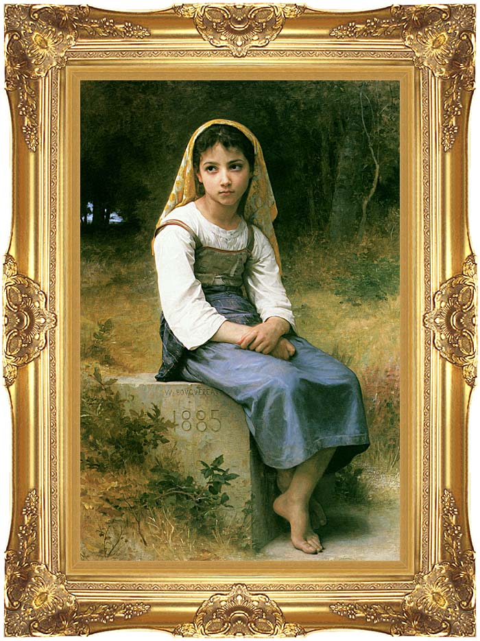William Bouguereau Meditation with Majestic Gold Frame