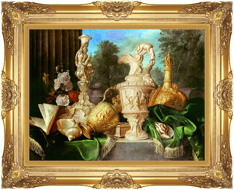 Meiffren Conte Still Life with Precious Vessels with Majestic Gold Frame