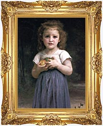 William Bouguereau Little Girl Holding Apples canvas with Majestic Gold frame
