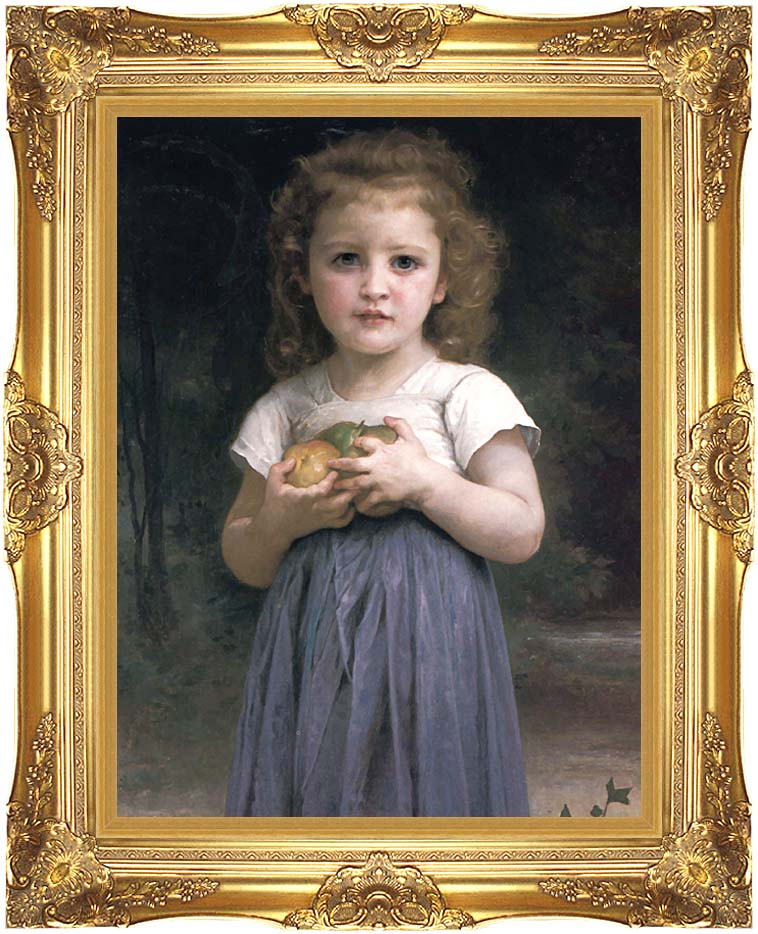 William Bouguereau Little Girl Holding Apples with Majestic Gold Frame
