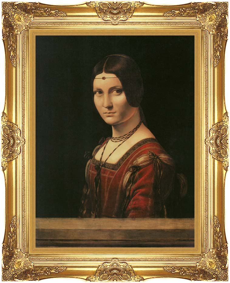 Leonardo Da Vinci Lady in the Court of Milan with Majestic Gold Frame
