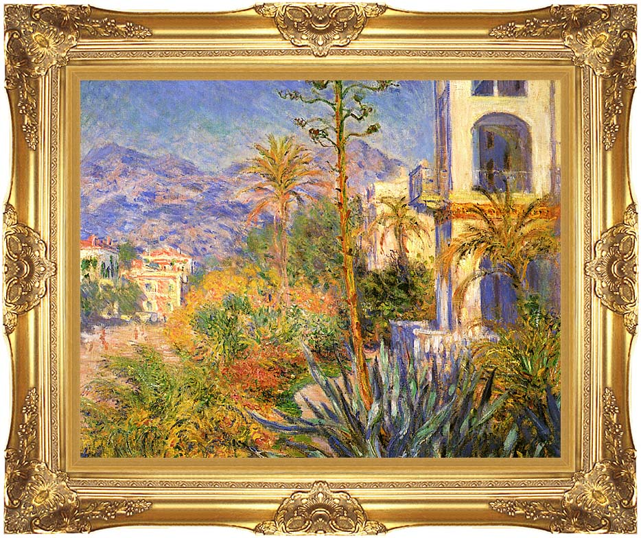 Claude Monet Villas at Bordighera with Majestic Gold Frame