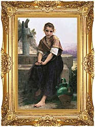 William Bouguereau The Broken Pitcher canvas with Majestic Gold frame