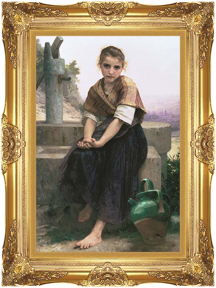 William Bouguereau The Broken Pitcher with Majestic Gold Frame