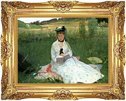Berthe Morisot Reading Detail canvas with Majestic Gold frame
