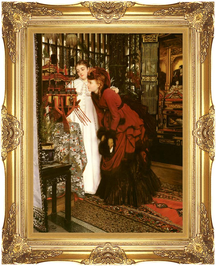 James Tissot Young Ladies Looking at Japanese Objects with Majestic Gold Frame
