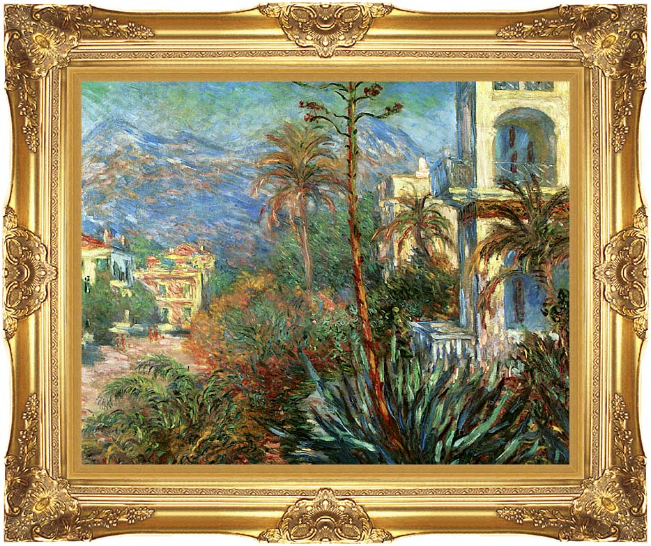 Claude Monet The Villas at Bordighera with Majestic Gold Frame