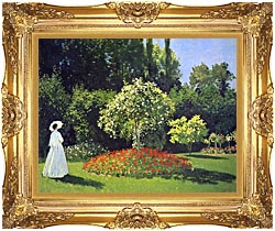 Claude Monet Jeanne Marguerite Lecadre In The Garden canvas with Majestic Gold frame