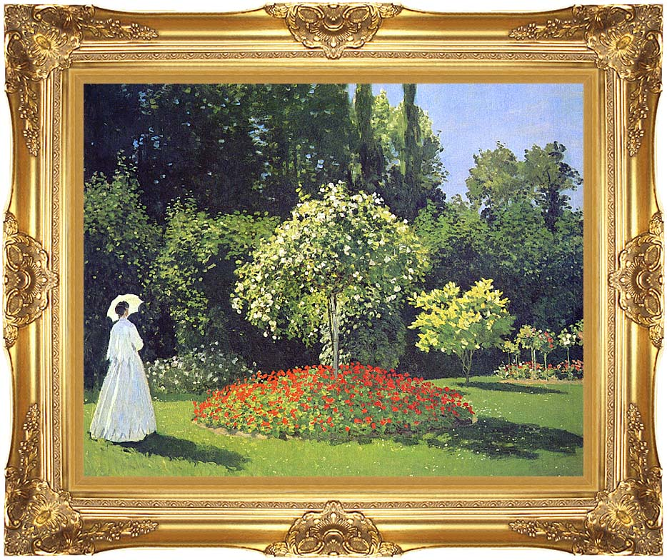Claude Monet Jeanne-Marguerite Lecadre in the Garden with Majestic Gold Frame