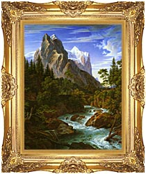 Joseph Anton Koch The Wetterhorn With The Reichenbachtal canvas with Majestic Gold frame