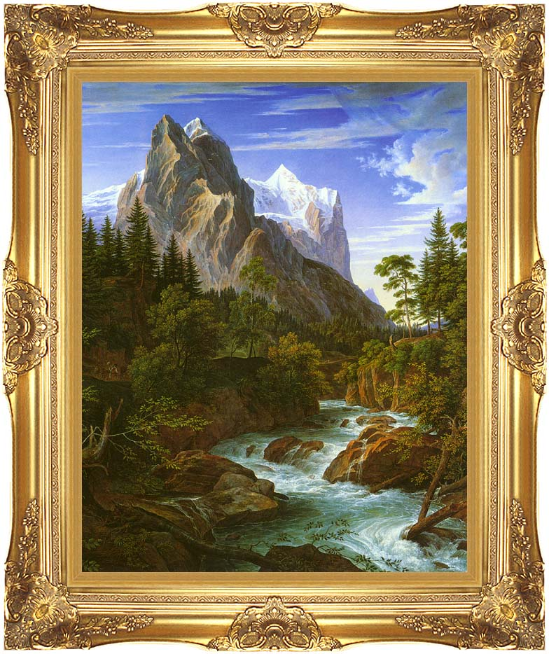 Joseph Anton Koch The Wetterhorn with the Reichenbachtal with Majestic Gold Frame
