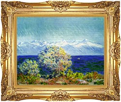 Claude Monet At Cap Dantibes Mistral Wind canvas with Majestic Gold frame