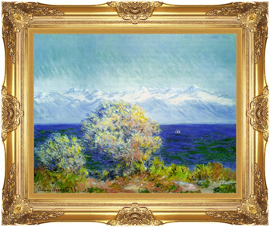 Claude Monet At Cap d'Antibes, Mistral Wind with Majestic Gold Frame