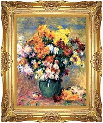 Pierre Auguste Renoir Chrysanthemums In A Vase canvas with Majestic Gold frame