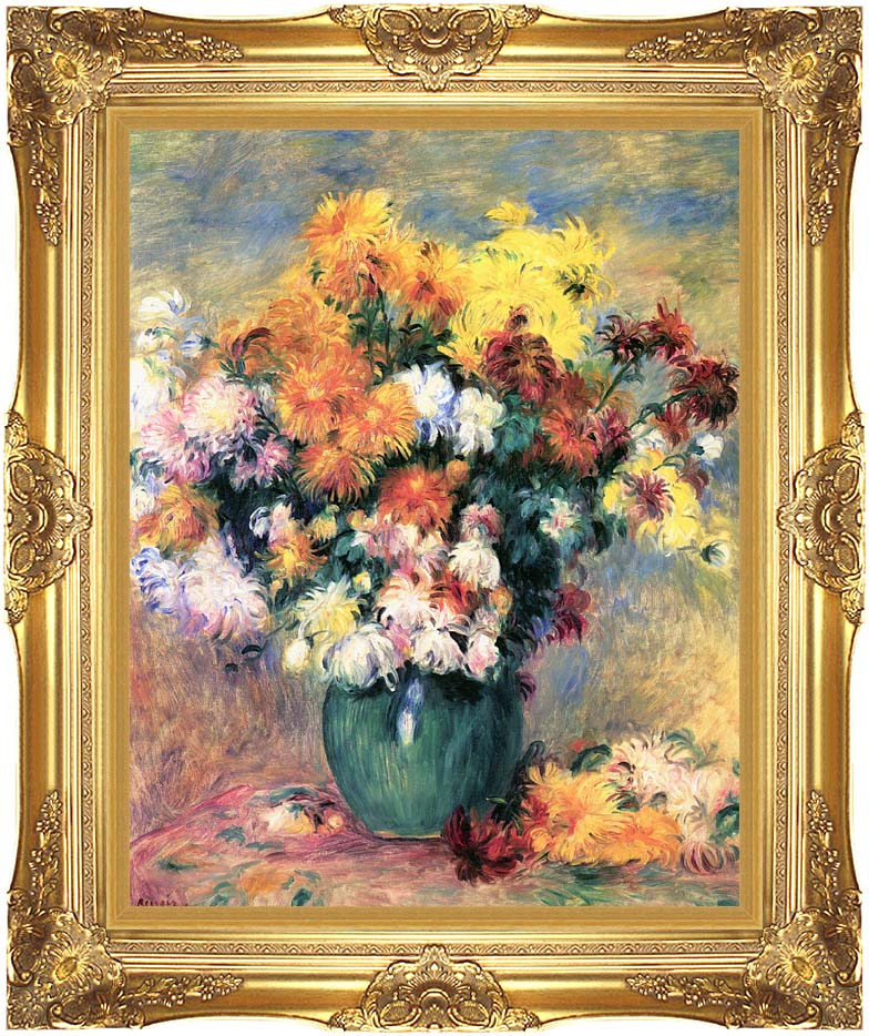 Pierre Auguste Renoir Chrysanthemums in a Vase with Majestic Gold Frame