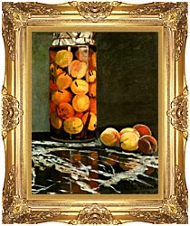 Claude Monet Jar Of Peaches canvas with Majestic Gold frame