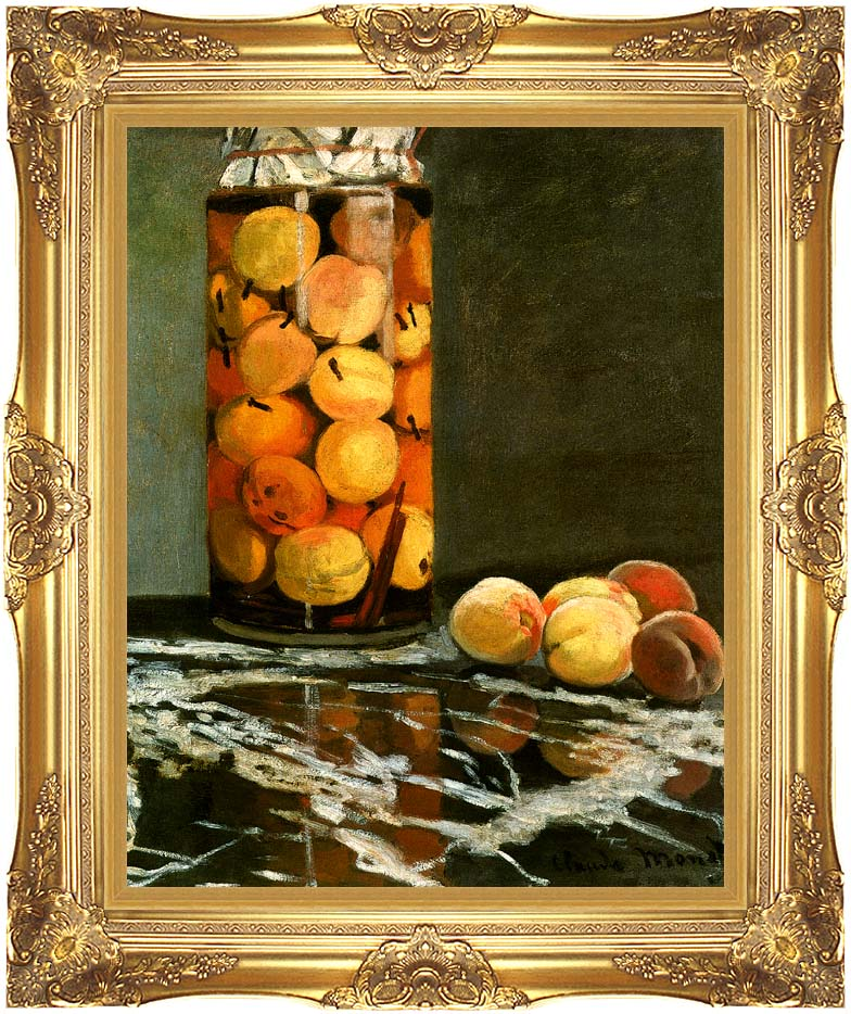 Claude Monet Jar of Peaches with Majestic Gold Frame