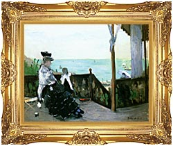 Berthe Morisot In A Villa At The Seaside canvas with Majestic Gold frame