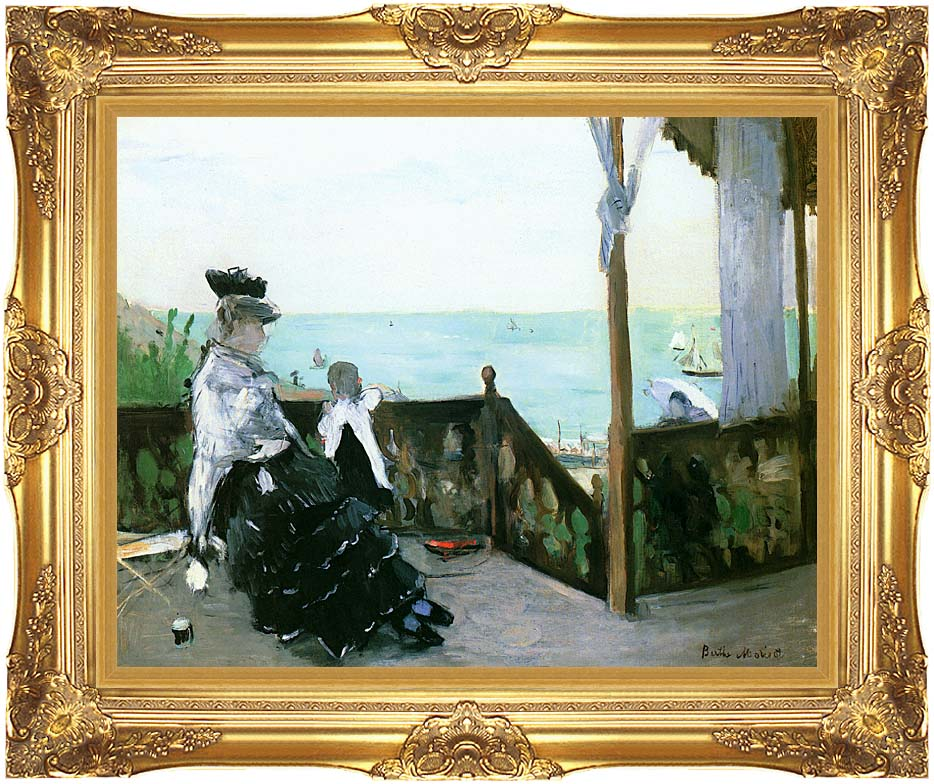 Berthe Morisot In a Villa at the Seaside with Majestic Gold Frame