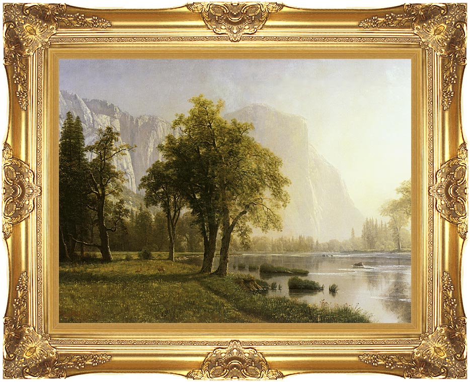 Albert Bierstadt El Capitan, Yosemite Valley, California with Majestic Gold Frame