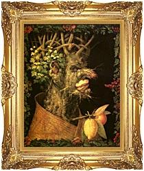Giuseppe Arcimboldo Winter canvas with Majestic Gold frame
