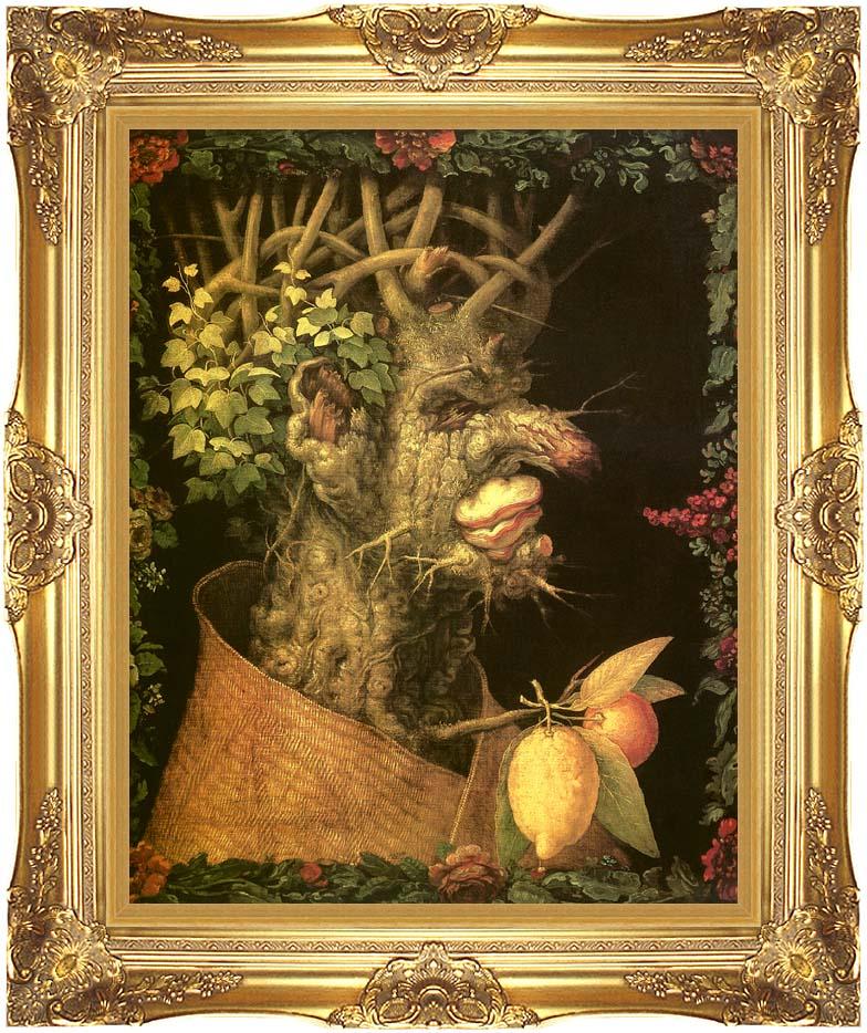 Giuseppe Arcimboldo Winter with Majestic Gold Frame