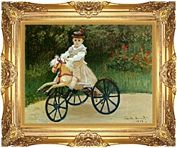 Claude Monet Jean Monet On His Horse Tricycle canvas with Majestic Gold frame