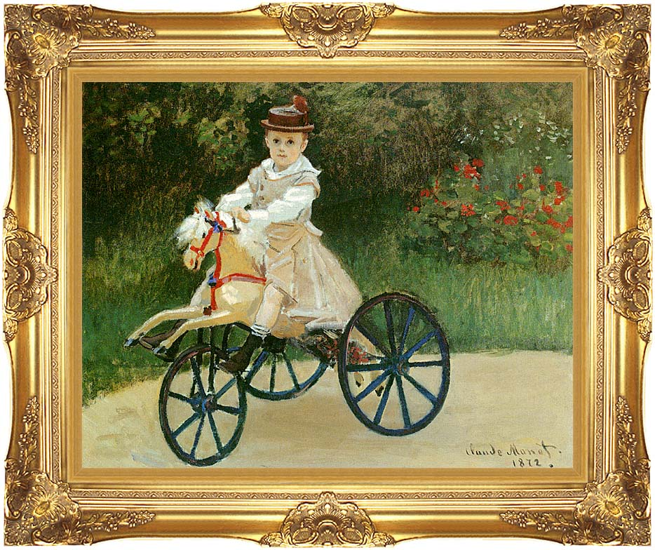 Claude Monet Jean Monet on his Horse Tricycle with Majestic Gold Frame