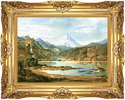 John Mix Stanley Mountain Landscape With Indians canvas with Majestic Gold frame
