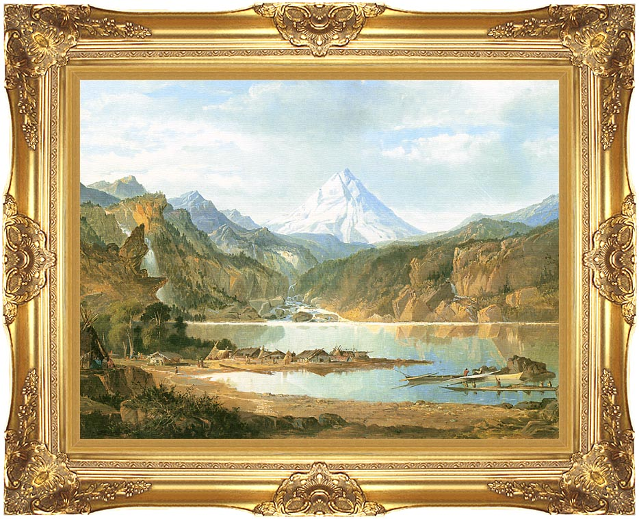 John Mix Stanley Mountain Landscape with Indians with Majestic Gold Frame