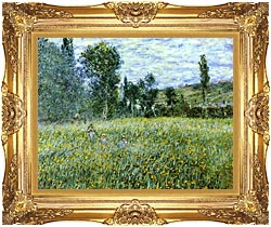 Claude Monet A Meadow Outside Vetheuil canvas with Majestic Gold frame