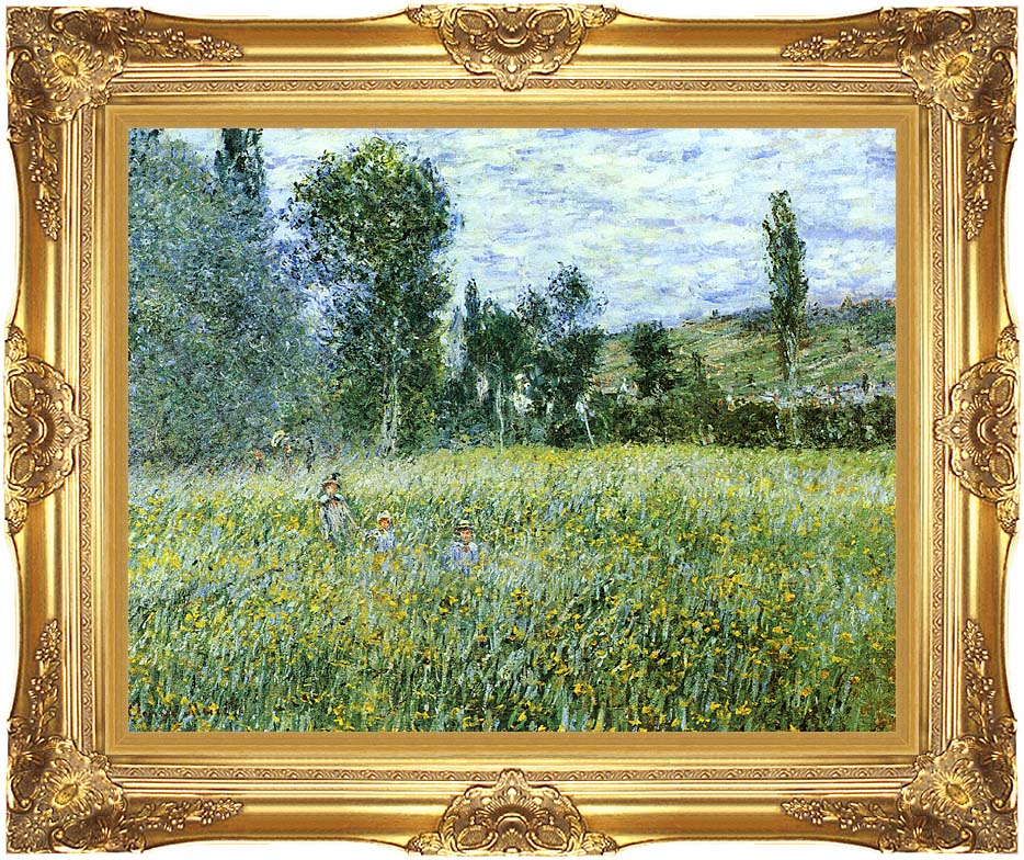 Claude Monet A Meadow Outside Vetheuil with Majestic Gold Frame