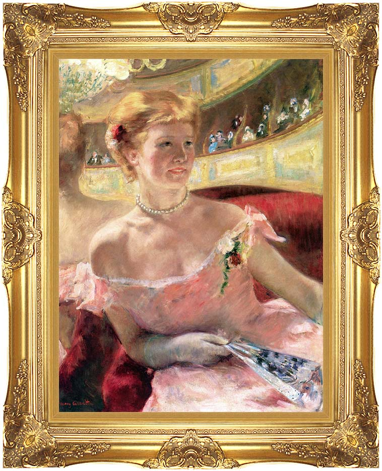 Mary Cassatt Lydia in a Loge Wearing a Pearl Necklace with Majestic Gold Frame