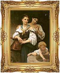William Bouguereau The Secret canvas with Majestic Gold frame