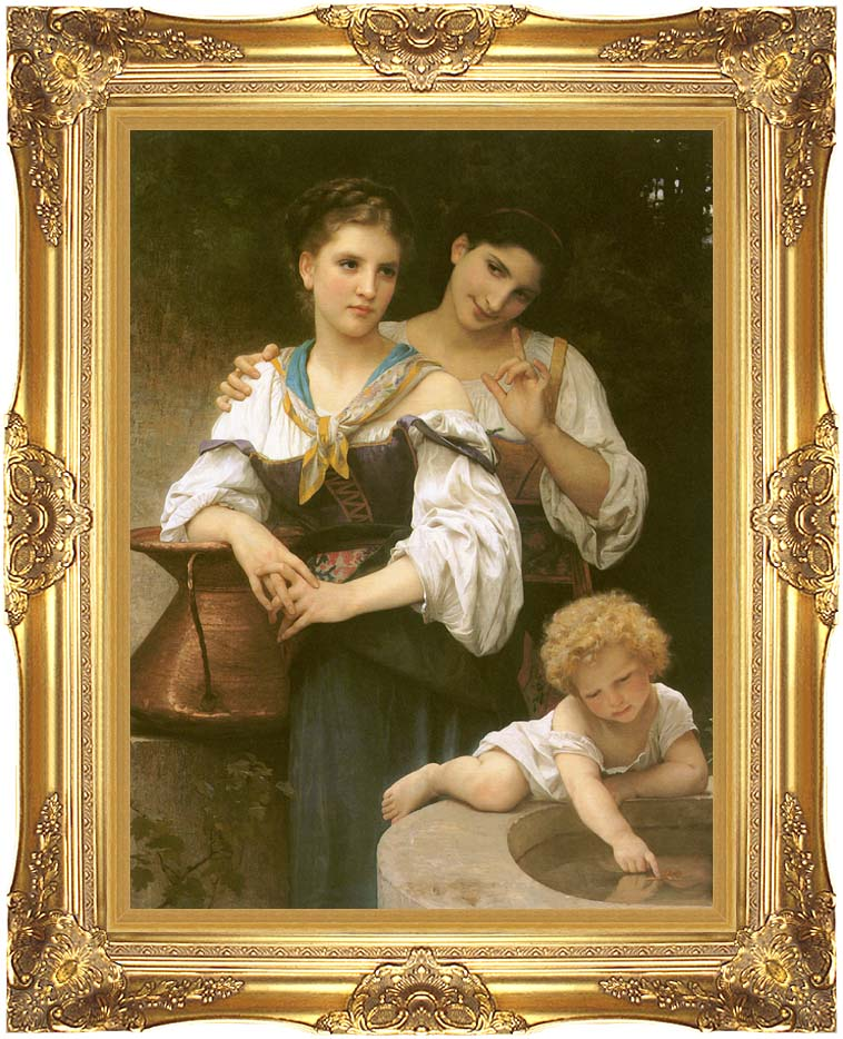 William Bouguereau The Secret with Majestic Gold Frame