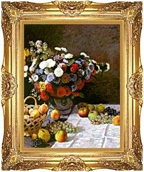 Claude Monet Still Life Flowers And Fruit canvas with Majestic Gold frame
