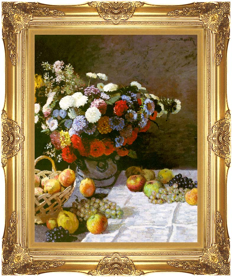 Claude Monet Still Life, Flowers and Fruit with Majestic Gold Frame