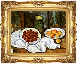 Paul Cezanne Still Life With Cherries And Peaches canvas with Majestic Gold frame